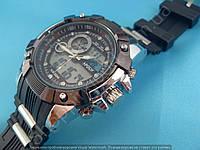 Спортивные часы I-Polw FS612 черные с серебристым каучуковый ремень водонепроницаемые противоударные подсветка