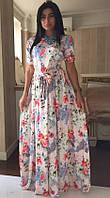 Платье длинное с цветочным принтом Бэла