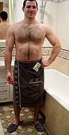 Набор для сауны мужской, килт+тапочки Nusa 040 серый