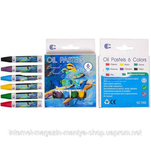 Восковые карандаши 6 цветов OIL PASTELS «С»