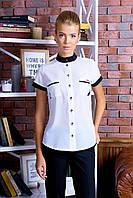Удобная Классическая Белая с Черным Блуза Короткий Рукав Воротник Стойка XS-XL