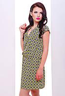Платье летнее из поплина прямого фасона, отрезное по талии и с планкой на груди с орнаментом 42-46 размера