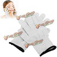 1 пары десятков проводящая импульсный электродный массаж перчатки физиотерапевтические