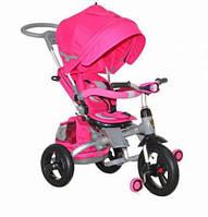Трёхколёсный велосипед-коляска с ФАРОЙ и НАДУВНЫМИ КОЛЕСАМИ Transformer MODI Azimut (6 в 1) розовый