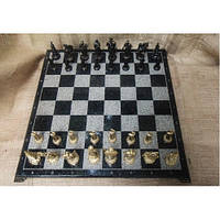Набор шахмат, доска из мрaмора, фигурки бронзовые