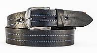 Кожаный мужской ремень под джинсы MASKO прошитый ниткой темно серого цвета