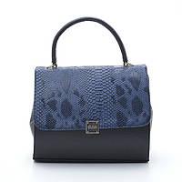 Качественная женская сумка из искусственной кожи черная/змея синяя