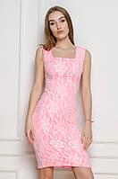 Розовое облегающие платье с гипюром