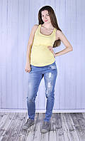 Стильные джинсы для беременных, с модными потертостями