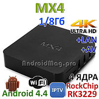 SMART TV приставка MX4 RK3229 TV Box UHD