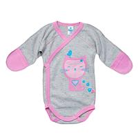 """Детский бодик с длинным рукавом """"Super Cat"""" для девочки (розовый)"""