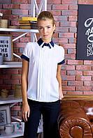 Элегантная Белая Блузка с Тройным Воротничком Короткий Рукав р. XS-L