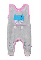 """Детские ползунки на бретелях """"Super Cat"""" для девочек (розовый)"""