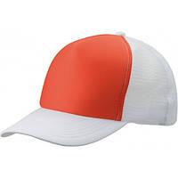 Белая кепка тракер с оранжевой вставкой
