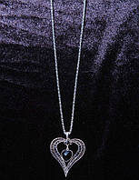 Романтическая подвеска на цепочке Сердце с кристаллами