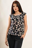 Летняя женская блуза с коротким рукавом синего цвета
