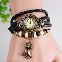 Женские часы-браслет винтажные черные Сова