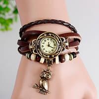 Женские часы-браслет винтажные коричневые Сова