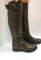 Сапоги женские кожаные зимние (натуральный мех+флис), коричневые