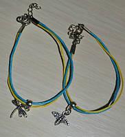 Желто голубой браслет со стрекозой или пчелкой