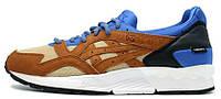 Мужские кроссовки Asics Gel Lyte V (асикс гель) коричневые с синим