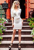 Элегантный молочный костюм юбка + блуза Лукреция 42-46 размеры Jadone