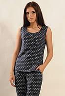 Женская летняя коттоновая блуза | т.синий (р.42-52)