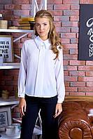 Элегантная Креп-Шифоновая Блуза с Брошью Длинный Рукав Белая р. XS-2XL