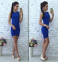 Женское летнее Платье асимметрия синее р. 42,44,46