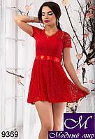 Женское красное гипюровое платье арт. 9369