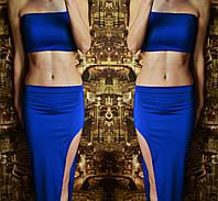 Костюм летний  топ короткий + юбка с разрезом синее