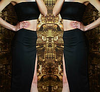 Костюм летний  топ короткий + юбка с разрезом   черный
