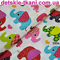 Ткань с индийскими слонами, цвет розовый №300а