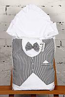 """Нарядный летний конверт-одеяло """"Джентельмен"""" для мальчика на выписку (белый с серой полосатой жилеткой)"""