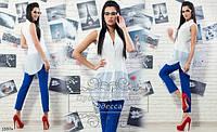 Женский костюм удлиненная белая туника штапель и шифон брюки стрейч твист размеры 42,44,46