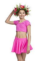 Топ детский для танцев с коротким рукавом бифлекс цветной