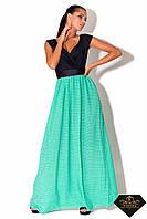 Платье женское длинное С мятной шифоновой юбкой (норма и батал)