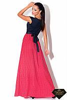 Платье женское длинное С малиновой шифоновой юбкой (норма и батал)