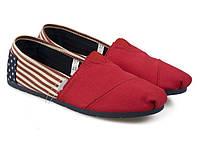 Тапки TOMS женские красный носок по бокам полоски