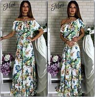 Летнее длинное платье с цветочным принтом 464 (м153)