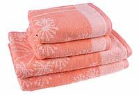 "Полотенце (50х90 см) жаккардовое махровое ""ЛаРаМи"", для лица, коралл"