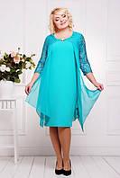 Вечернее платье Роза бирюзовое большие размеры 50-58