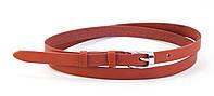 Стильный женский тонкий красный кожаный ремешок