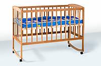 Кровать детская из натурального дерева, дуга + колеса (бук),  Гойдалка