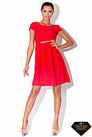 Платье короткое женское от груди Красное(норма и батал)