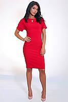 Молодежное приталенное платье красного цвета, фото 1