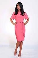 Приталенное розовое платье с коротким рукавом, фото 1