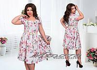 Платье  №00150-голубой+розовые цветы