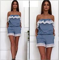 Женский летний джинс комбез шортами
