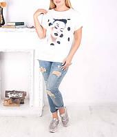 """Женская футболка с удлиненной спинкой """"Дот"""" для полных девушек, до 64 размера"""